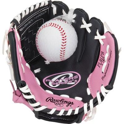 Girls Youth Players 9` Infield/Pitcher T-Ball Glove w/ Training Ball-Pink/Black