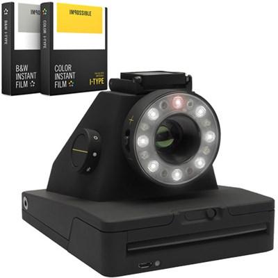 Project I-1 Analog Instant Photo Camera w/ Flash Ring + B&W & Color Film Bundle