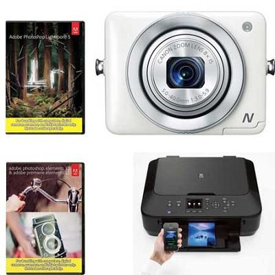 PowerShot N Black 12.1MP Wifi Camera + MG5520 Wifi Printer + Adobe Combo