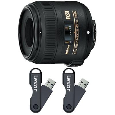 AF-S DX Micro-NIKKOR 40mm f/2.8G Lens 64GB USB Flash Drive 2-Pack Bundle