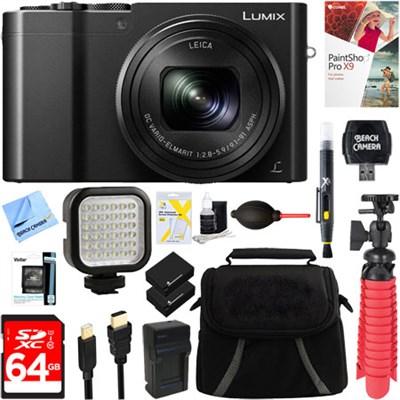 LUMIX DMC-ZS100K 20 MP Digital Camera (Black) + 64GB Dual Battery Deluxe Bundle