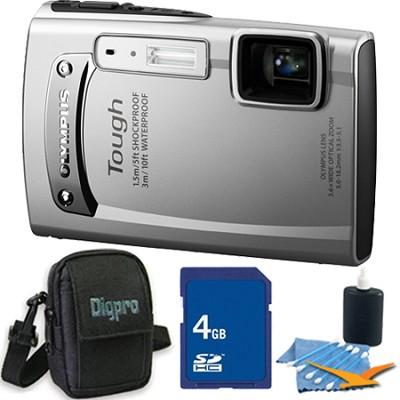 Tough TG-310 14 MP Water/Shock/Freezeproof Digital Camera 4GB Silver Kit