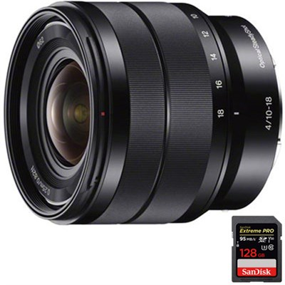 10-18mm f/4 Wide-Angle Zoom E-Mount Lens + 128GB Memory Card