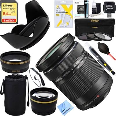 M. Zuiko 40-150mm f4.0-5.6 R Lens - Black + 64GB Ultimate Filter Bundle