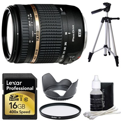 18-270mm f/3.5-6.3 Di II VC PZD IF Nikon Lens 16 GB Bundle