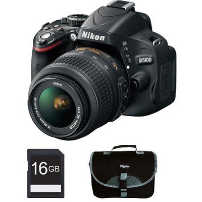 D5100 DX-format 16.2MP CMOS Digital SLR Body w/ 18-55mm VR Lens Bundle Deal