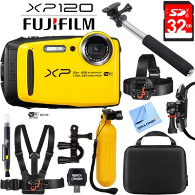FinePix XP120 Yellow Compact Rugged Waterproof Digital Camera + 32GB Card Bundle