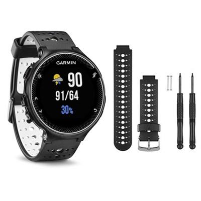 Forerunner 230 GPS Running Watch, Black/White - Black/White Watch Band Bundle