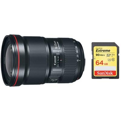 EF 16-35mm f/2.8L III USM Ultra Wide Angle Zoom Lens & 64GB Memory Card Bundle