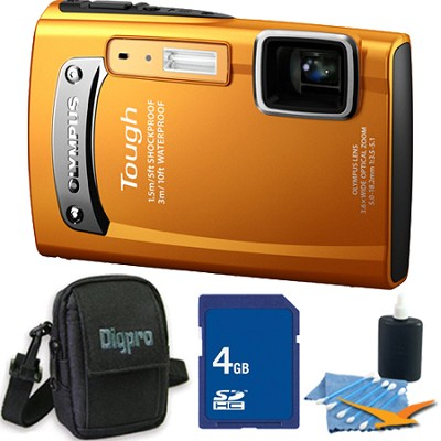 Tough TG-310 14 MP Water/Shock/Freezeproof Digital Camera Orange 4GB Kit