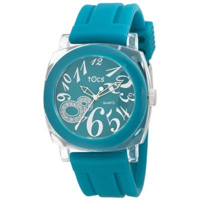 `Crystal 8` Analog Round Watch Turquoise - 40725