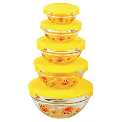 5 Glass bowl set with Lids Yellow SC10120