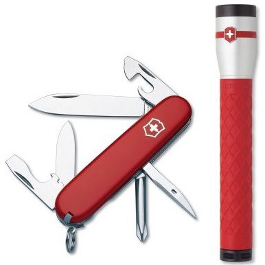 Tinker Pocket Knife w/ Red Rubber AAA LED Flashlight