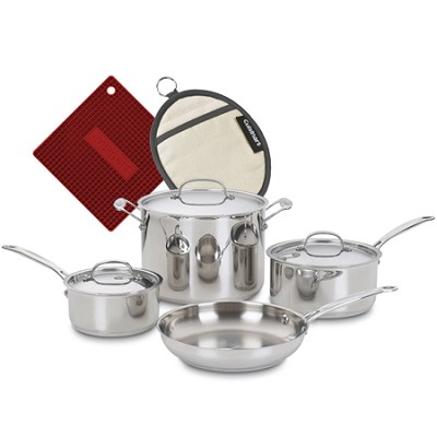 77-7 Chef's Classic Stainless 7-Piece Cookware Set with two Silicone pot holders
