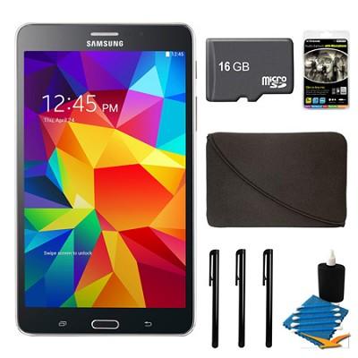 Galaxy Tab 4 Black 8GB 7` Tablet, 16GB Card, and Case Bundle