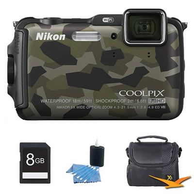 COOLPIX AW120 16MP Waterproof Shockproof Freezeproof Camo Digital Camera Kit