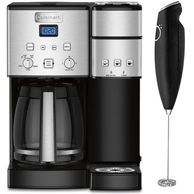 12-Cup Coffee Maker and Single-Serve Brewer w/ Electric Milk Frother
