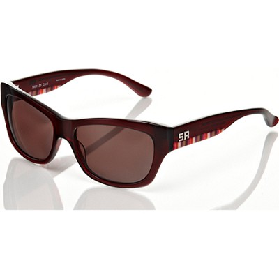 Burgundy-and Brown Sunglasses With Brown Lens and Pink Detail