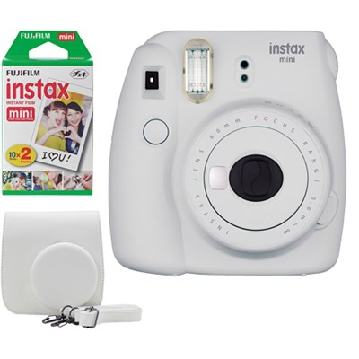 Instax Mini 9 Instant Camera Bundle w/ Case and Film - Smokey White