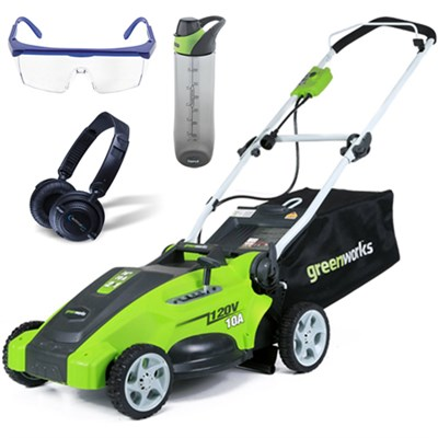 10 Amp 16` Corded Lawn Mower w/ HP23 Headphones, 24oz Bottle & Safety Glasses