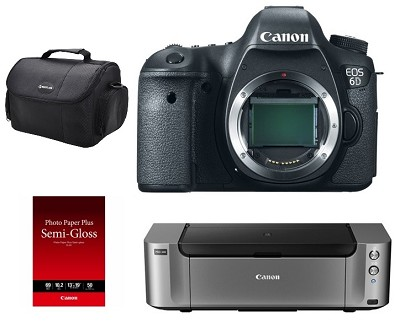 EOS 6D DSLR Camera (Body) Kit w/ Pro100 Printer / Paper & Gadget Bag