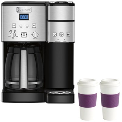 SS-15 12-Cup Coffee Maker & Single-Serve Brewer w/ 2 Reusable To Go Cups (Plum)