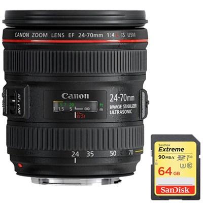 EF 24-70mm F/4L IS USM Standard Zoom Lens w/ 64GB Memory Card