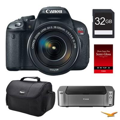 EOS T4i DSLR Camera 18-135mm Lens, 32GB, Printer Bundle