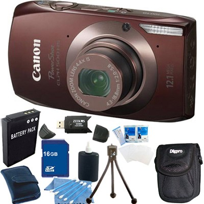 PowerShot ELPH 500 HS Brown Digital Camera 16GB Bundle