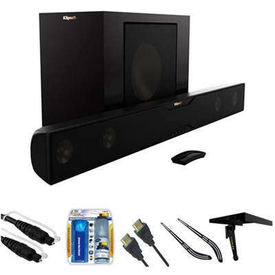 Bluetooth Soundbar with Wireless Subwoofer - Satin Black w/ Accessories Bundle