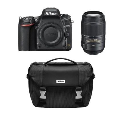 Refurbished D750 24.3MP FX Digital SLR w/ 55-300 VR Lens and Case