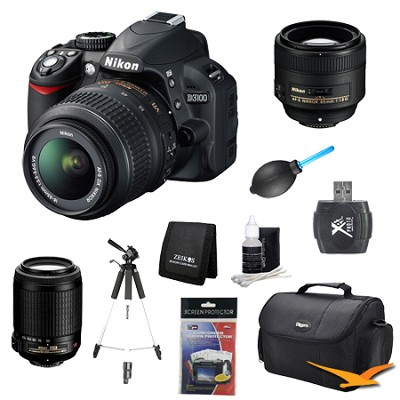 D3100 14MP DX-format Digital SLR w/ 18-55mm, 55-200mm and 85mm Lens Kit