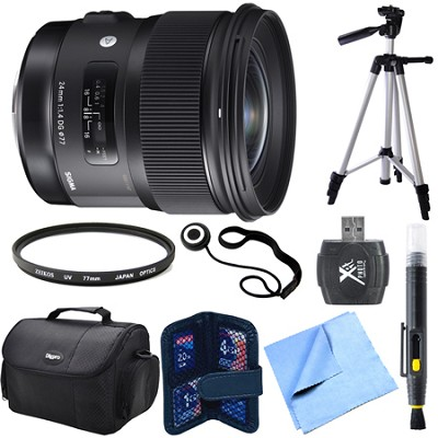 24mm f/1.4 DG HSM Wide Angle Lens (Art) for Sigma DSLR Camera Mount Bundle