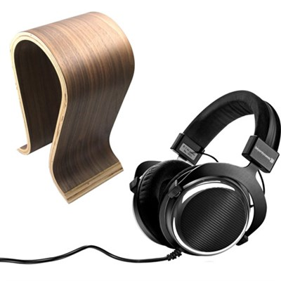 T90 Chrome Exclusive Limited Edition Audiophile Headphones 250 OHM w/ Wood Stand