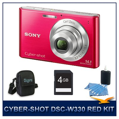 Cyber-shot DSC-W330 14MP Red Digital Camera With 4GB Card, Case, and More
