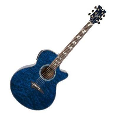 PE-FQA-TBL Series Performer Florentine Quilt Acoustic Guitar (Trans Blue)
