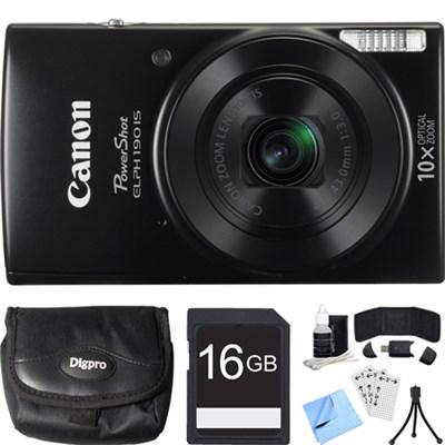 PowerShot ELPH 190 IS Black Digital Camera w/ 10x Optical Zoom 16GB Card Bundle