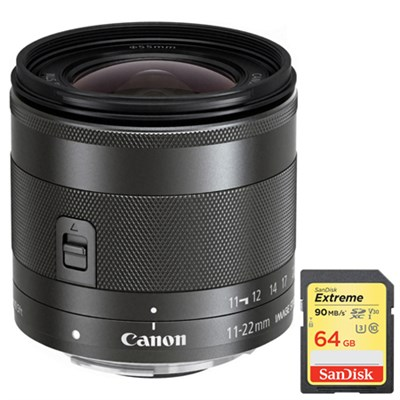 Wide Angle EF-M 11-22mm f/4-5.6 IS STM Lens with Sandisk 64GB Memory Card