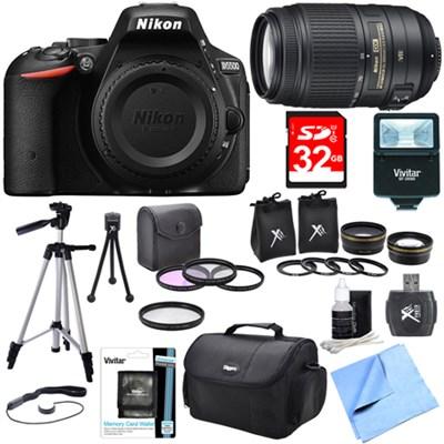 D5500 Black Digital SLR Camera, 55-300 Lens, Lens Set, and Flash Bundle