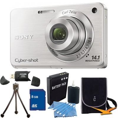 Cyber-shot DSC-W560 Silver Digital Camera 8GB Bundle