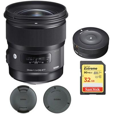 24mm f/1.4 DG HSM Wide Angle Lens (Art) for Nikon with USB Dock Bundle