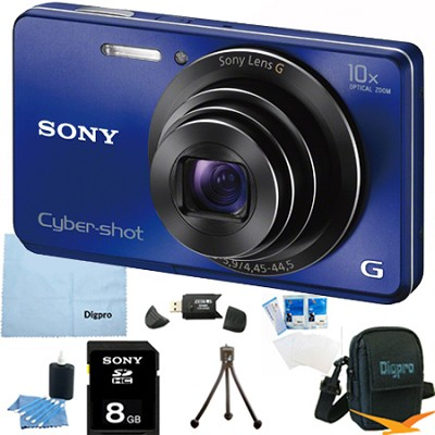 Cyber-shot DSC-W690 16MP 10X Zoom 720p Video Digital Camera (Blue) 8GB Bundle