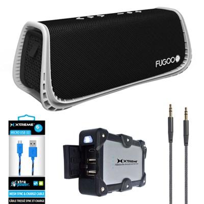 Sport XL Port. Waterproof Bluetooth Speaker B&W w/ Power Bank Charger Bundle