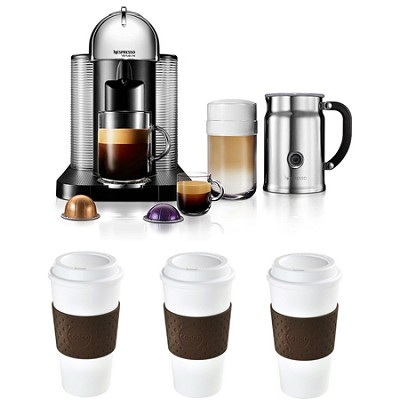 VertuoLine Coffee/Espresso Maker (Chrome) Reusable To Go Mug 3-Pack Bundle