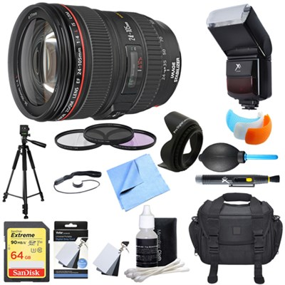 EF 24-105mm f/4 L IS USM Lens for EOS SLR Cameras Ultimate Accessory Bundle