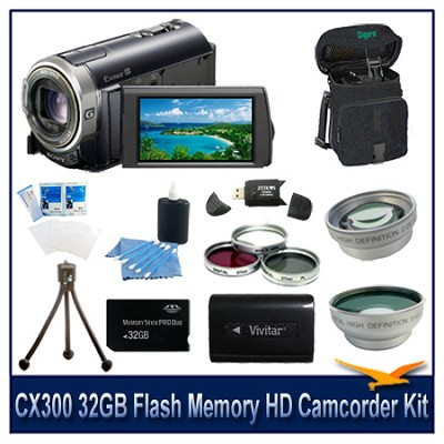 CX300 16GB Flash Memory  HD Camcorder With 32GB Memory Card, Battery, and More
