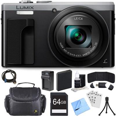 ZS60 LUMIX 4K 18 MP Digital Camera with Wi-Fi - Silver (DMC-ZS60S) 64GB Bundle