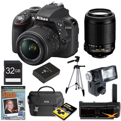 D3300 DSLR HD Black Digital Camera Baby and Family Photographer Bundle