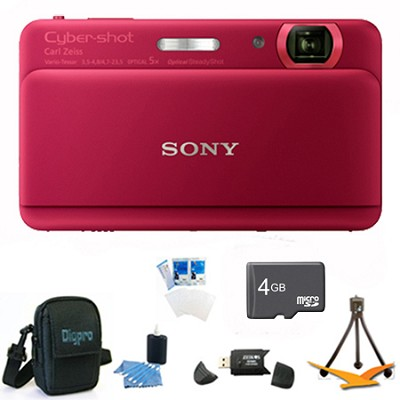 Cyber-shot DSC-TX55 Red Slim Digital Camera 3.3` OLED Touchscreen w/ 4GB Kit