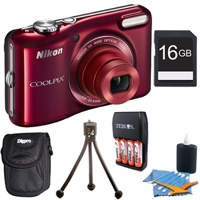 COOLPIX L28 20.1 MP 5x Zoom Digital Camera - Red Plus 16GB Memory Kit